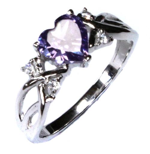 Amethyst Purple Heart Ring