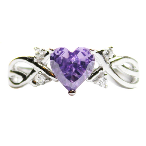Amethyst (Purple) Heart Shaped Ring Front