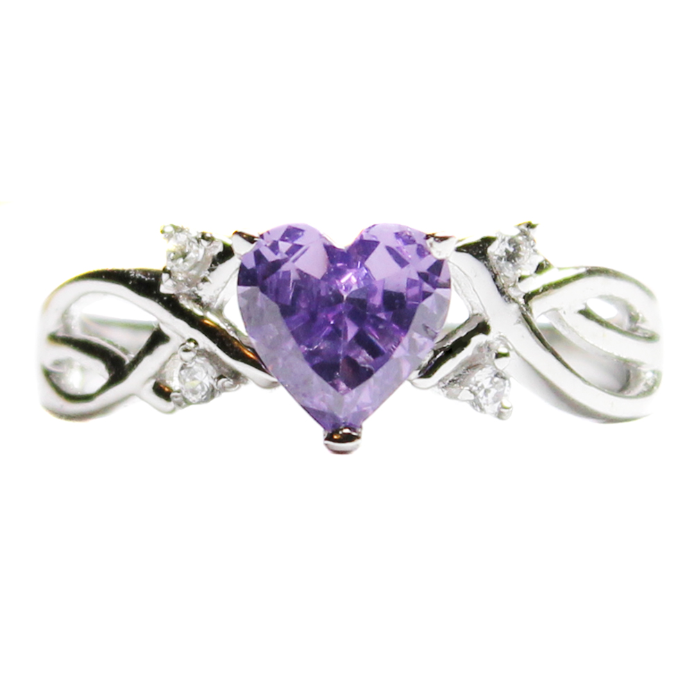 amethyst purple heart shaped promise ring beautiful. Black Bedroom Furniture Sets. Home Design Ideas