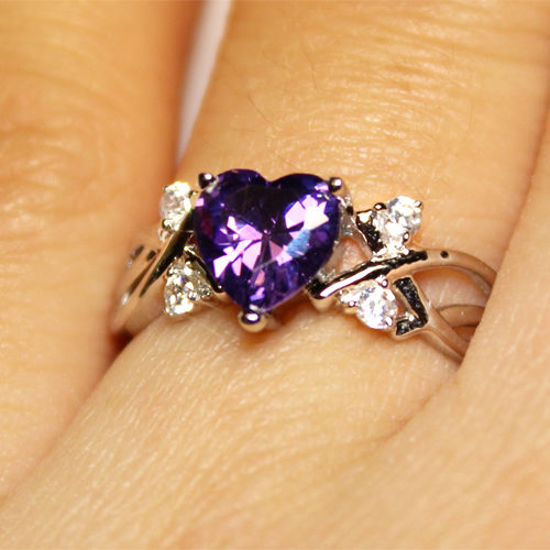 Amethyst (Purple) Heart Shaped Ring on Hand 2