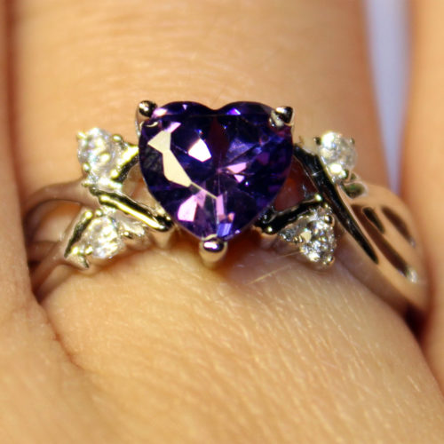 Amethyst (Purple) Heart Shaped Ring on Hand 3