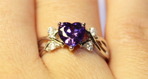 Amethyst (Purple) Heart Shaped Ring on Hand 4