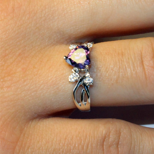 Amethyst (Purple) Heart Shaped Ring on Hand1