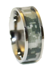 Army Camo Wedding Ring - Titanium Wedding Band - Marpat Camo Ring