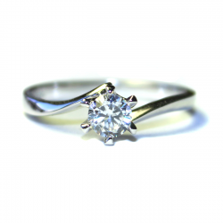 Curved Diamond Promise Ring Solitaire Front