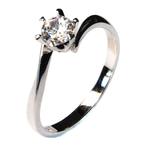 Curved Diamond Promise Ring Solitaire