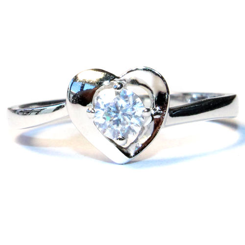 Diamond Heart Promise Ring Front