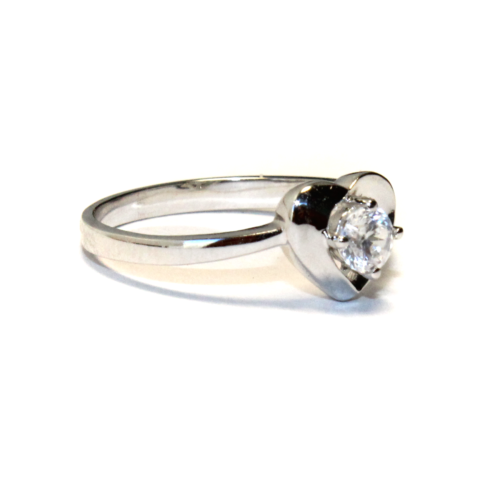 Diamond Heart Promise Ring Side