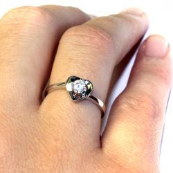 Diamond Heart Promise Ring on Hand