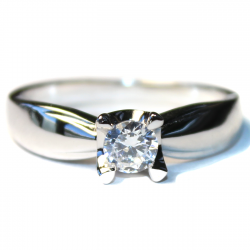 Diamond Promise Ring - Silver Solitaire Front