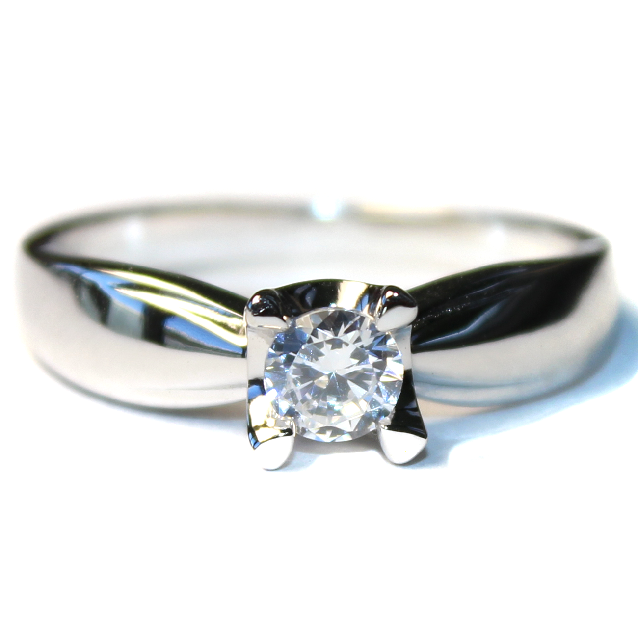 Diamond Promise Ring Silver Solitaire Stone Beautiful