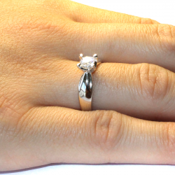 Diamond Promise Ring - Silver Solitaire on Hand
