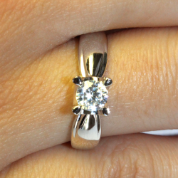 Diamond Promise Ring - Silver Solitaire on Hand2
