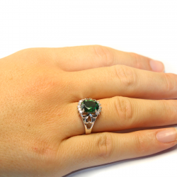 Emerald Green Promise Ring on Hand