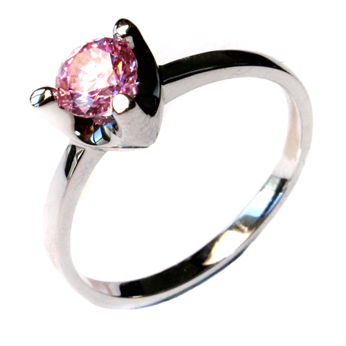 Pink Solitaire Promise Ring