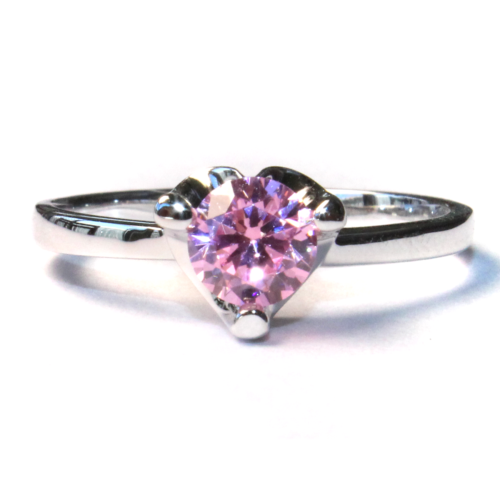 Pink Solitaire Promise Ring Front