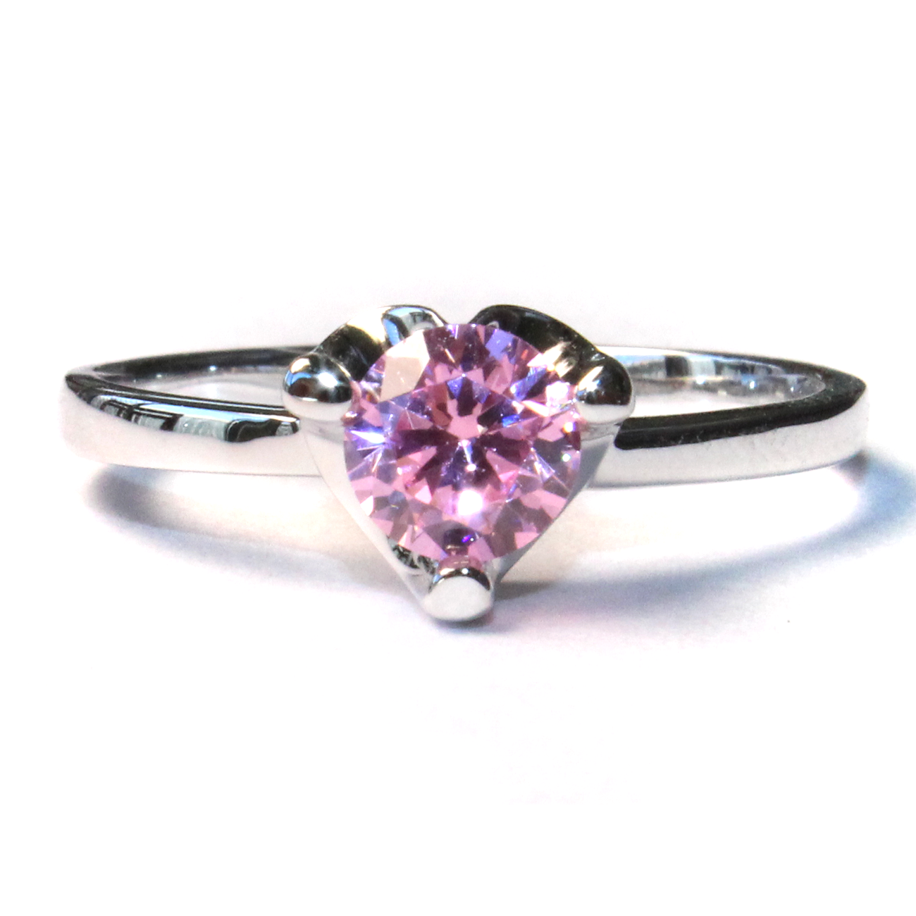 Pink Solitaire Promise Ring - Beautiful Promise Rings