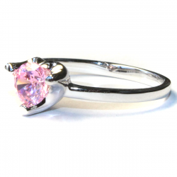 Pink Solitaire Promise Ring Side