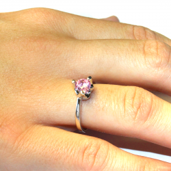 Pink Solitaire Promise Ring on Hand