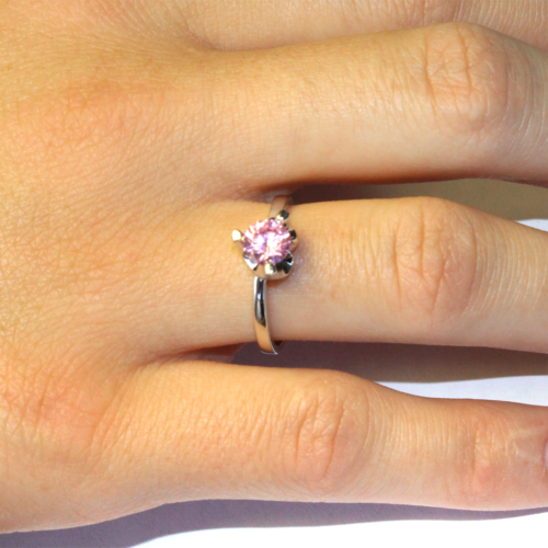 Pink Solitaire Promise Ring on Hand2