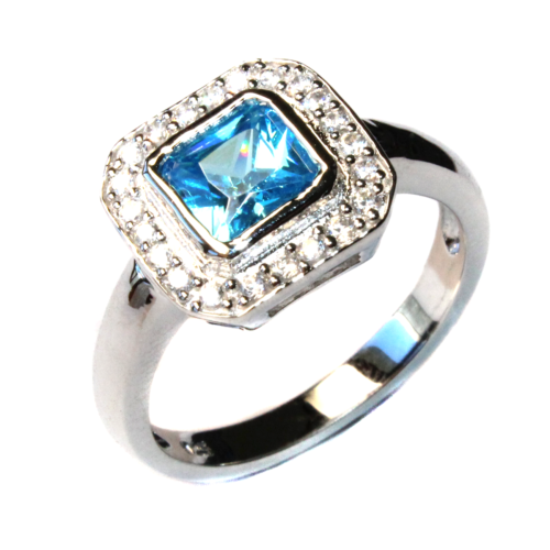 Princess Cut Aquamarine Promise Ring