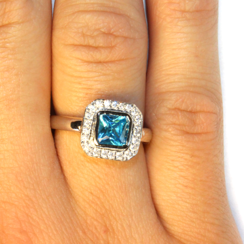 Princess Cut Aquamarine Promise Ring on Hand