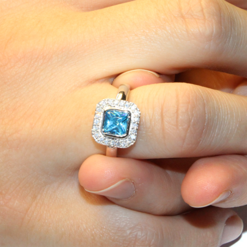 Princess Cut Aquamarine Promise Ring on Hand2