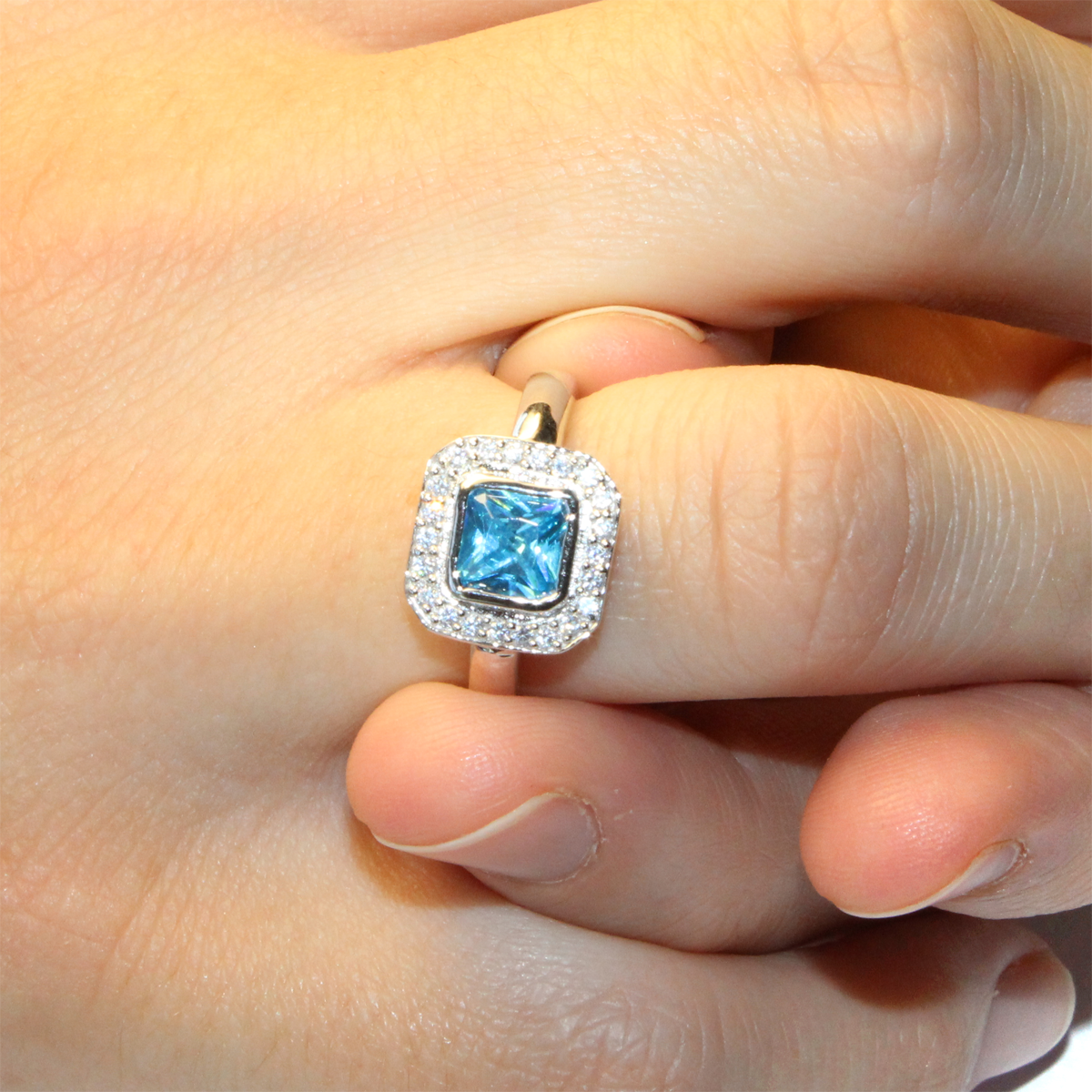 Princess Cut Aquamarine Blue Promise Ring Beautiful