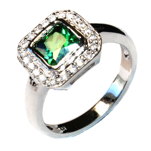 Princess Cut Emerald Green Promise Ring