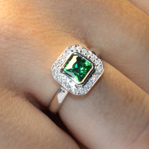 Princess Cut Emerald Green Promise Ring Hand 1