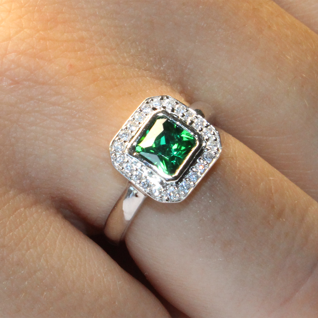 princess cut emerald green promise ring beautiful