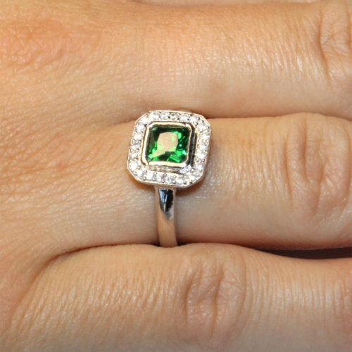 Princess Cut Emerald Green Promise Ring Hand