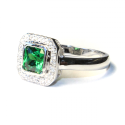 Princess Cut Emerald Green Promise Ring Side