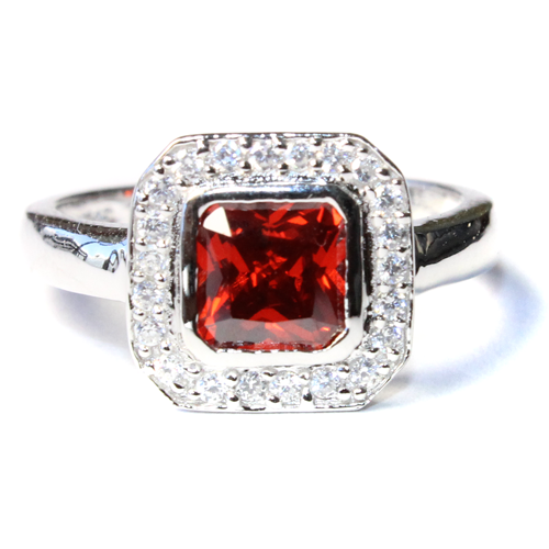 Princess Cut Ruby Red Promise Ring Front