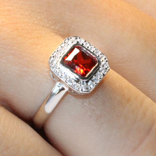 Princess Cut Ruby Red Promise Ring on Hand2