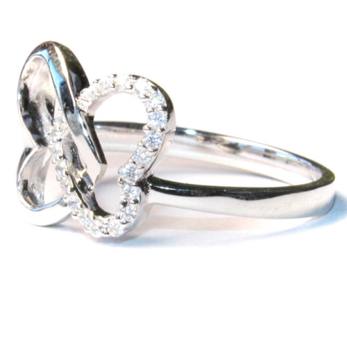 2 Interlocked Hearts Promise Ring Side