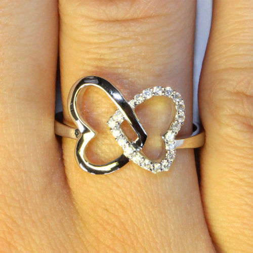 2 Interlocked Hearts Promise Ring on Hand 1
