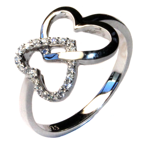 2 Interlocked Hearts Promise Ring