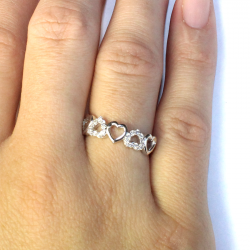 5 Hearts Promise Ring on Hand 2
