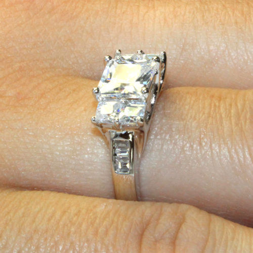 5 Stone Princess Cut Diamond Promise Ring on Hand2