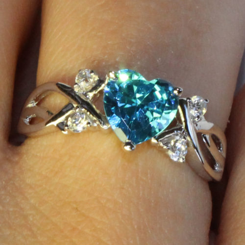 Aquamarine Heart Shaped Ring – Aqua Cubic Zirconia on hand