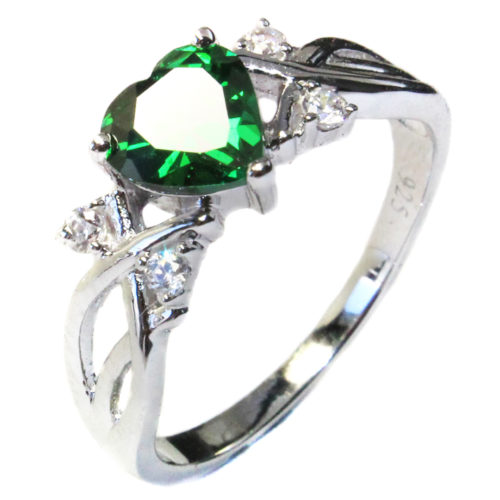 Emerald Heart Shaped Ring - Green Cubic Zirconia