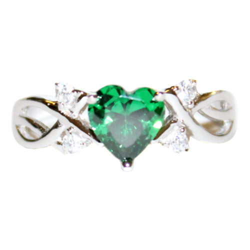 Emerald Heart Shaped Ring - Green Cubic Zirconia Front