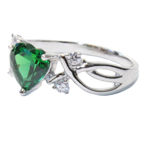 Emerald Heart Shaped Ring - Green Cubic Zirconia Side