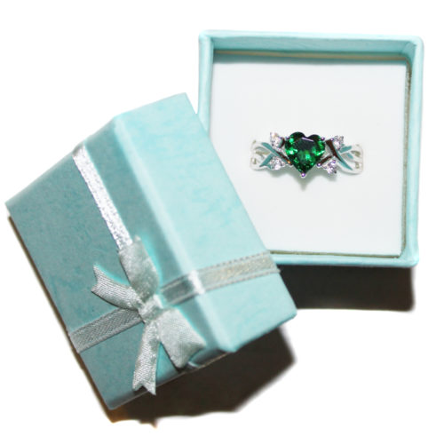 Emerald Heart Shaped Ring - Green Cubic Zirconia in Box