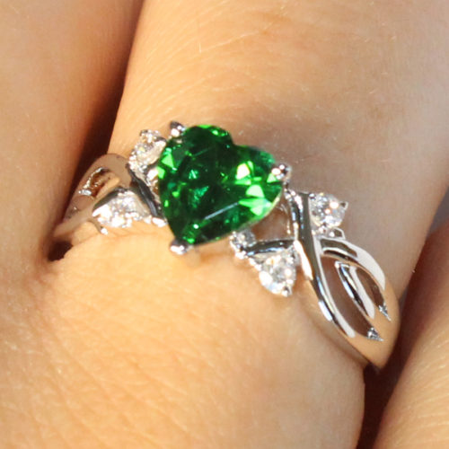 Emerald Heart Shaped Ring - Green Cubic Zirconia on Hand2
