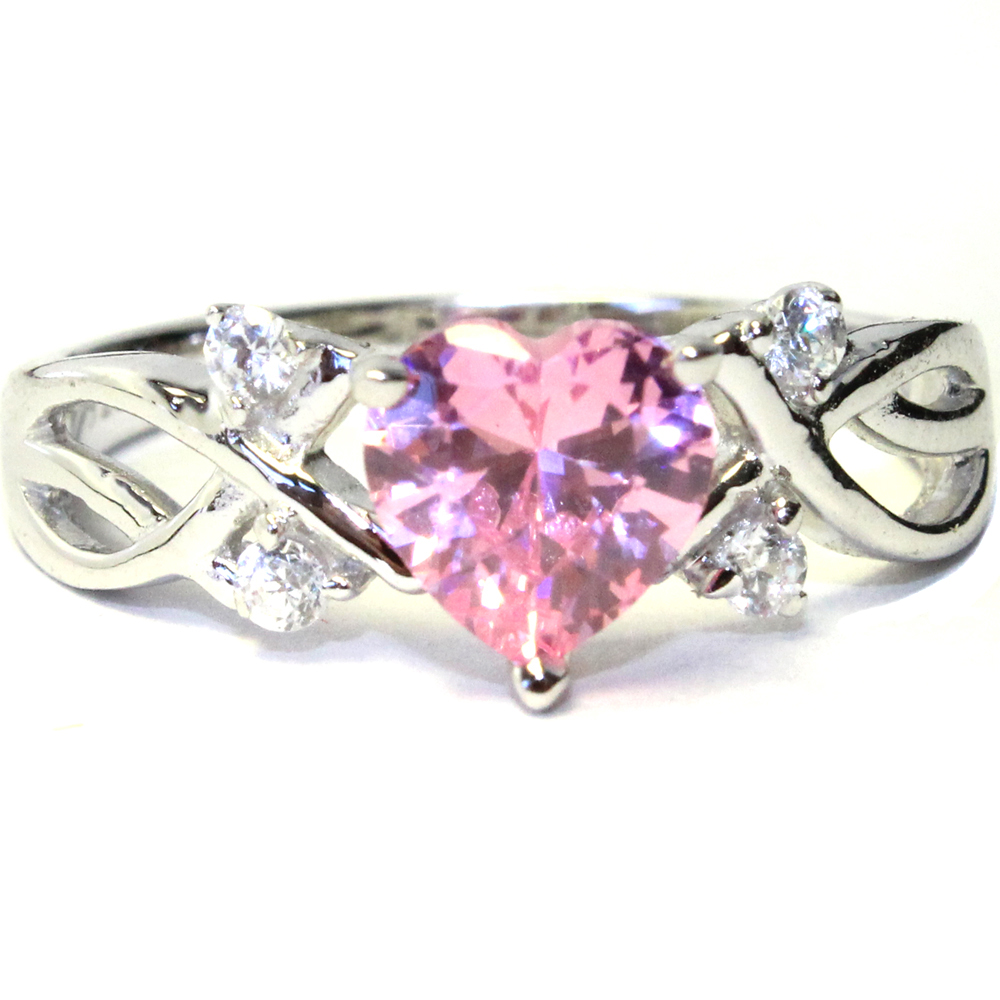 pink shaped promise ring pink cubic zirconia