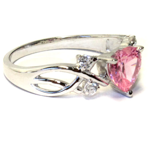 Pink Heart Shaped Promise Ring Side