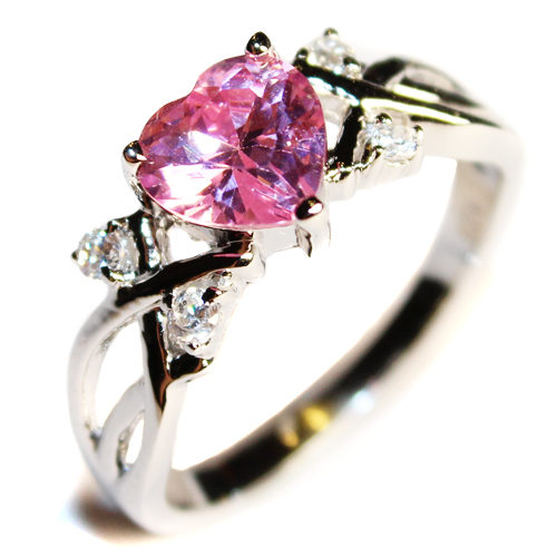 Pink Heart Shaped Promise Ring Upright