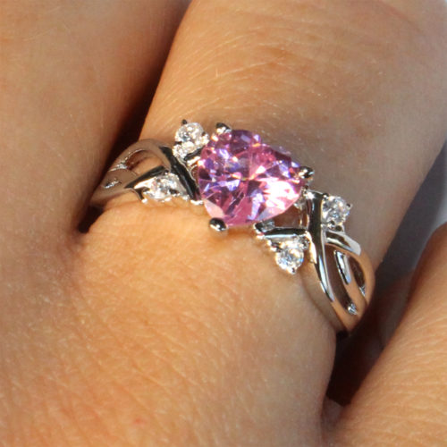Pink Heart Shaped Promise Ring on Hand2